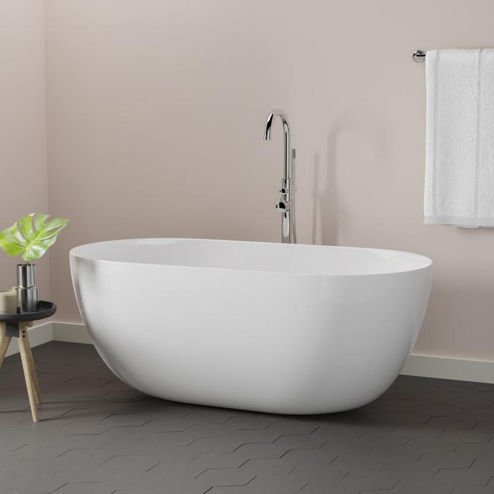 Freestanding Tub With Faucet Holes. Barclay Paige  59 Acrylic Freestanding Bathtub ATOVN59K WH 53 63 Inch Continued 5