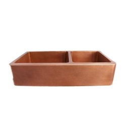 Hammered Copper Farmer Sink with 2 Bowls