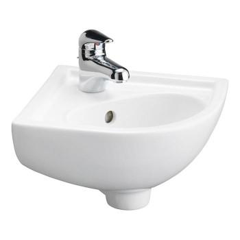 Small Corner Sink with Single Hole Tap Deck, Round Basin