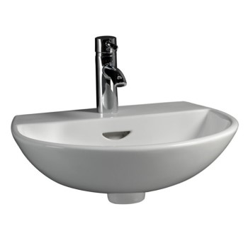 Modern Wall Sink With Rounded Front, Tap deck, Shown with Single Hole Faucet