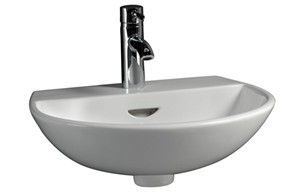 Modern Round Wall Sink, Shown with Single Hole Faucet