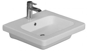 Rectangle Sink with Rectangle Basin, Rounded Corners, Shown with Single Hole Faucet
