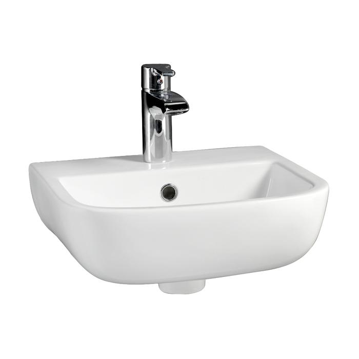 D Shape Wall Sink, Tap Deck, Shown with Single Hole Faucet