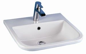 D Shapped Sink, Shown with Single Hole Faucet Drilling