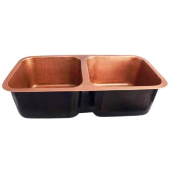 Hammered Copper Sink with a 2 Equally Sized Bowls