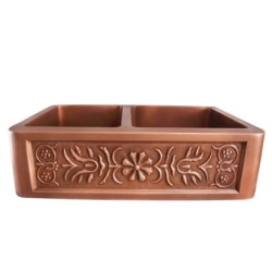 Offset Double Bowl Copper Sink, Smooth Finish, Relief Floral Design