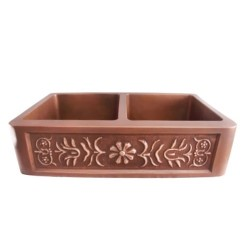 Double Bowl Copper Sink, Smooth Finish, Relief Floral Design