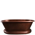 Copper Double Roll Top with a Smooth Copper Rim & Pedestal Base