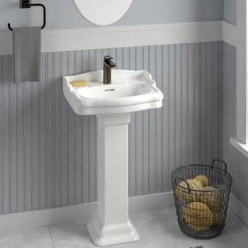 Small, Traditional Pedestal with Back Splash and Square Pedestal