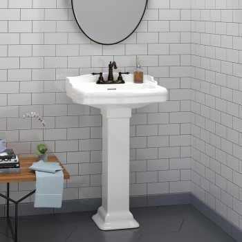 Traditional Pedestal with Back Splash and Square Pedestal