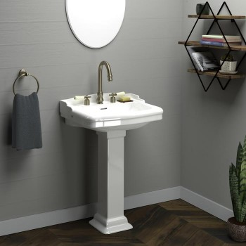 Traditional Pedestal with Back Splash and Square Pedestal, Widespread Faucet