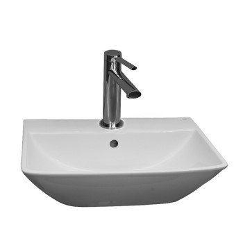 Rectangle Wall Sink with Angled Sides, Single Hole Faucet Drilling