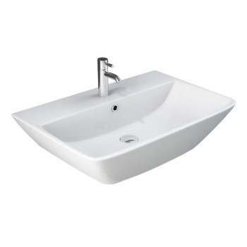 Rectangle Wall Sink with Rounded Front Corners, Angled Sides