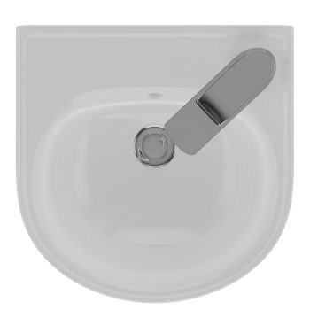 Narrow D Shapped Wall Sink with Single Hole Faucet