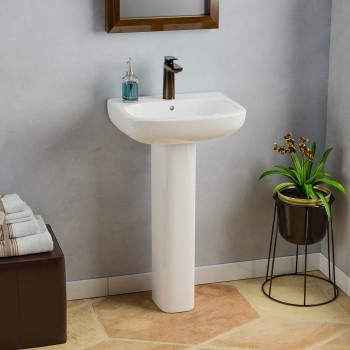 Modern D Shaped Pedestal with Oval Basin, Shown with Single Hole Faucet