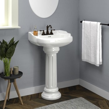 Traditional Pedestal with Round Front, Back Splash, Centerset Faucet