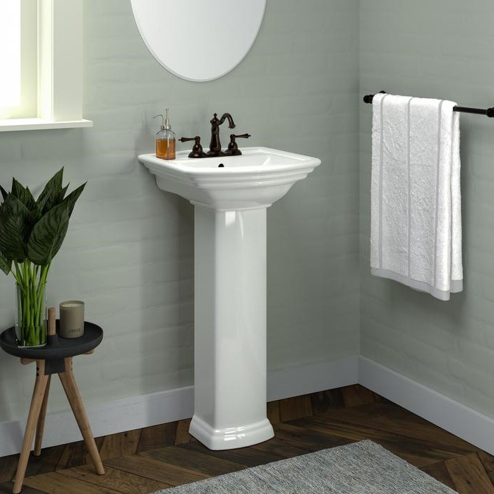 Small Pedestal Sink with Curving Front, Traditional Detail