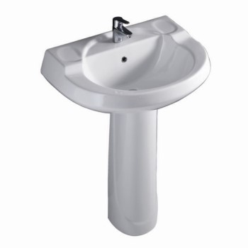 Deep, Pedestal Sink with Round Design, Shown with Single Hole Faucet