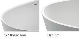 The rim of the tub is rounded into the Tub or Flat