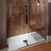 With Seat Shower Pan Recessed Into Floor Optional Teak Shown