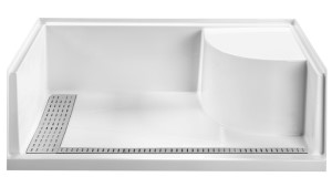 Shower Pan with Corner Seat, T Style Drain