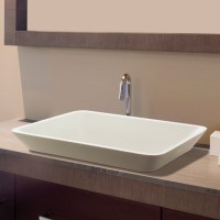 Rectangle Semi-Recessed Sink with Curving Sides Matching Addison Freestanding Bath