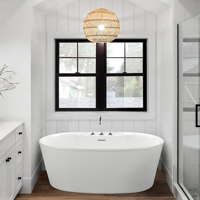Adel Oval Freestanding Bath with Angled Sides, Flat Overlapping Rim, Faucets in Deck