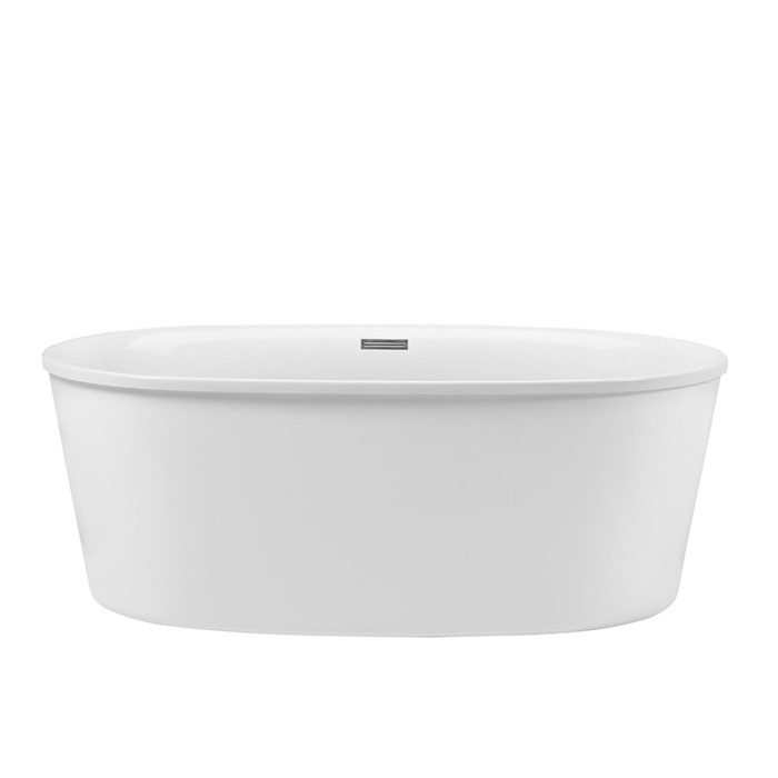 Oval Freestanding Bath with Angled Sides, Flat Overlapping Rim