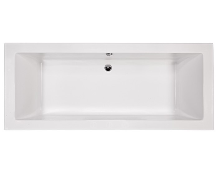 Long, Modern Rectangle Tub with Center-Side Drain and Two Backrests