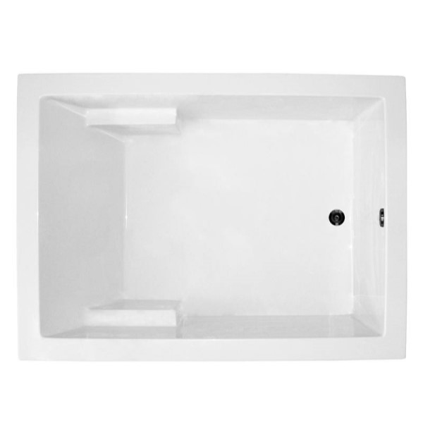 Wide Rectangle Bathtub with Armrests
