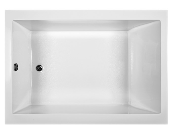 Modern Rectangle Bath with End Drain, Wide Rim