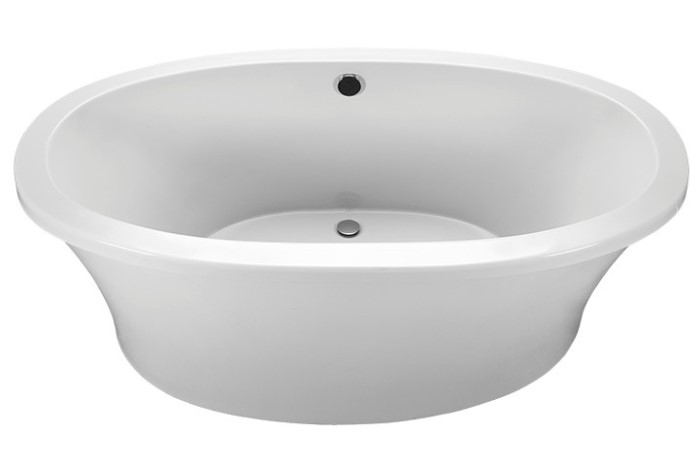 Oval Freestanding Tub with Center Drain, Curving Sides