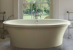 Oval Freestanding Tub with Deck Mount Tub Faucet Option