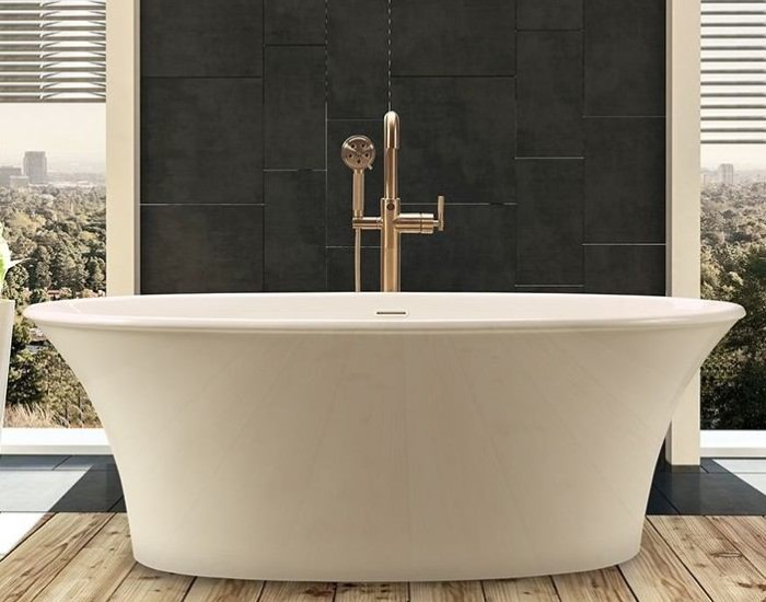 Charlotte Freestanding Tub Installed with a Modern Freestanding Tub Faucet