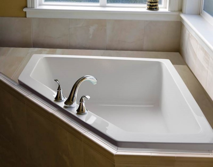 Deborah 2 Bathtub Installed as a Drop-in with Deck Mount Tub Faucet