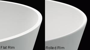 The rimof the tub is rounded or flat