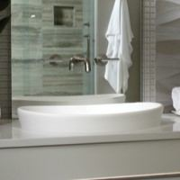 Oval Semi-Recessed Sink with Raised Sides Matching Elise Freestanding Bath