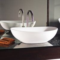 Oval Vessel Sink with Raised Sides Matching Elise Bath
