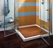Shown is a multiple threshold, low profile shower base (MTSB-4848MT) with matching teak shower tray