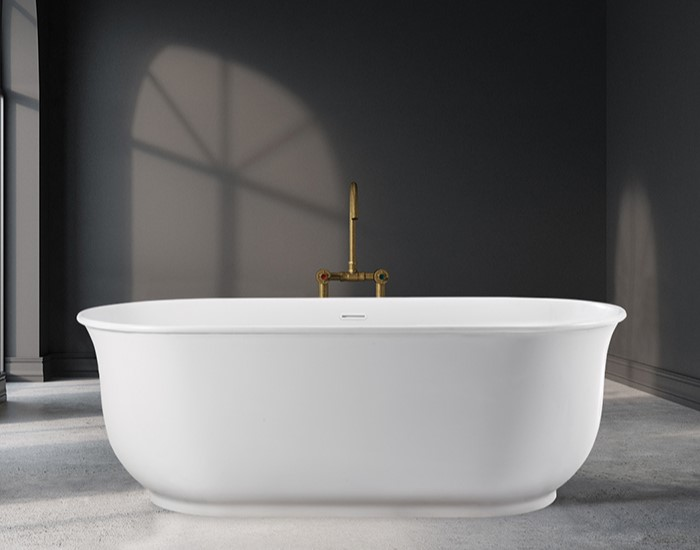 Freestanding Oval Bath with Curving Sides and Recessed Base
