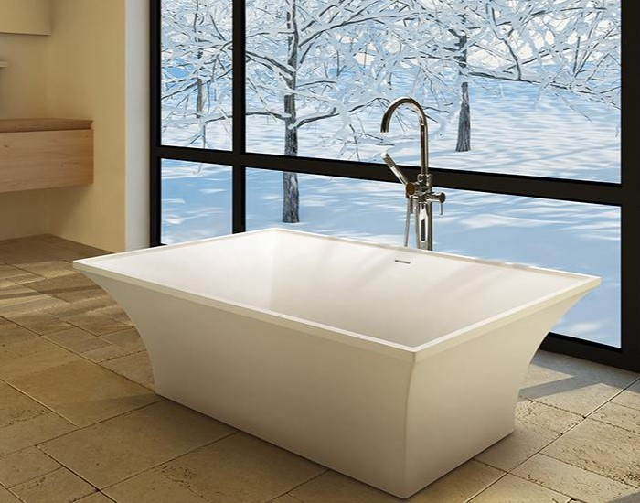 Rectangle Bath with Curving Sides, Boxy Rim