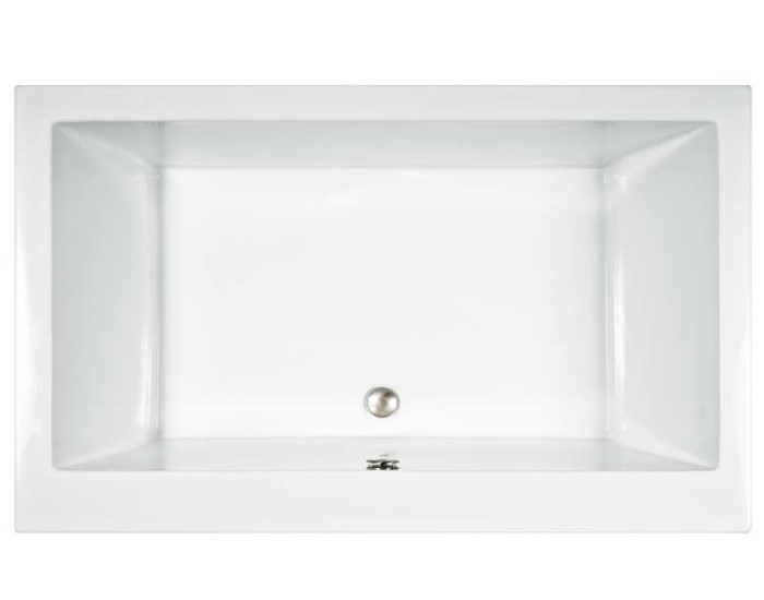 Captivating Modern Rectangle Tub With Wide Rim, Center Drain, 2 Backrests