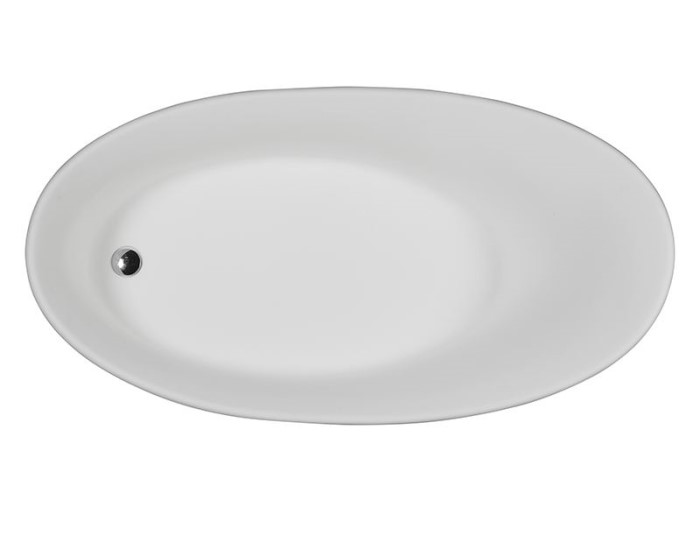 Oval Tub with Oval Bathing Area, Center Drain Bath with Slotted Overflow