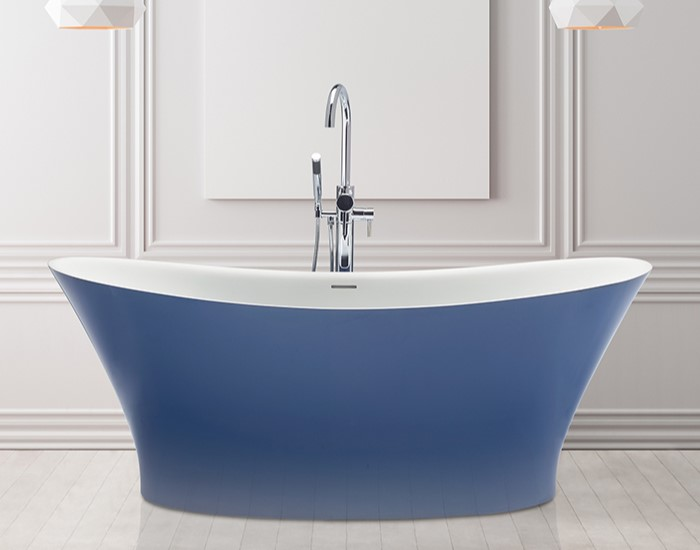 Mallory Saphire Blue Installed with Freestanding Faucets