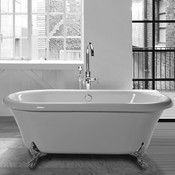 Freestanding Bath with Center Drain and Chrome Feet