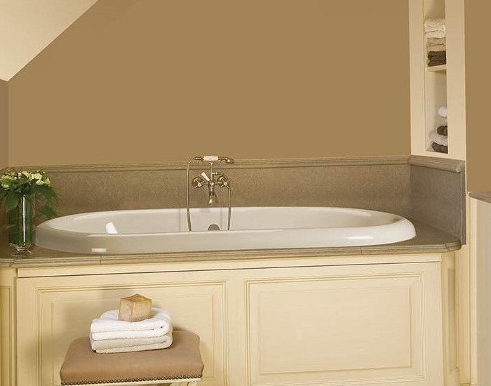 Melinda 3 Shown As A Drop In Soaker Tub With Old World Tub Filler