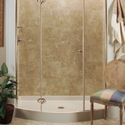 Crescent Bow-Front Shower Base with Nordic Series Enclosure
