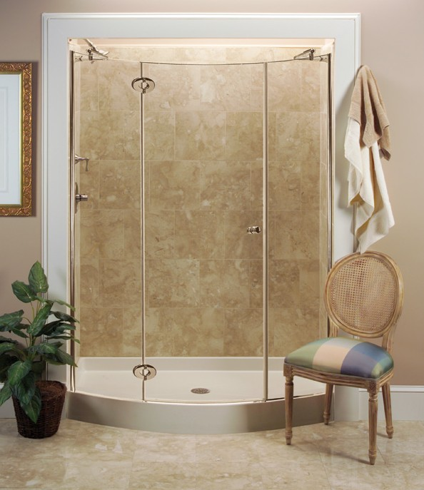 Crescent Bow Front Shower Base With Nordic Series Enclosure