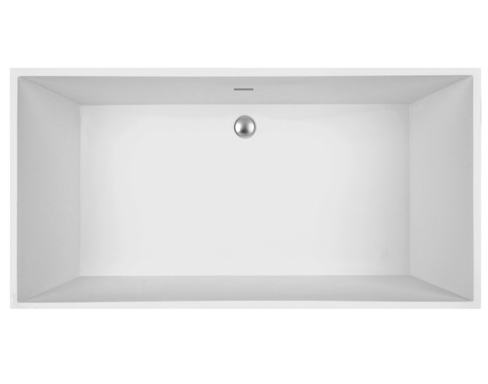 Rectangle Tub with Rectangle Bathing Area, Center Drain Bath with Slotted Overflow