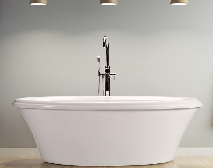 Victoria 4 Installed with Nodern Freestanding Faucet Centered Behind the Bath